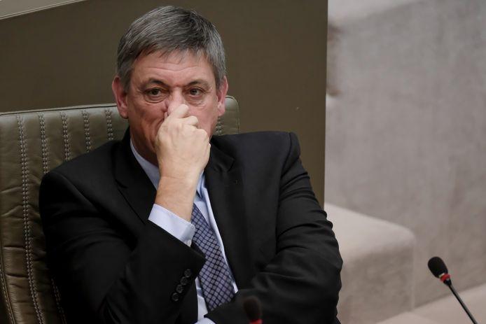 Minister-president Jan Jambon in het Vlaams Parlement vandaag.