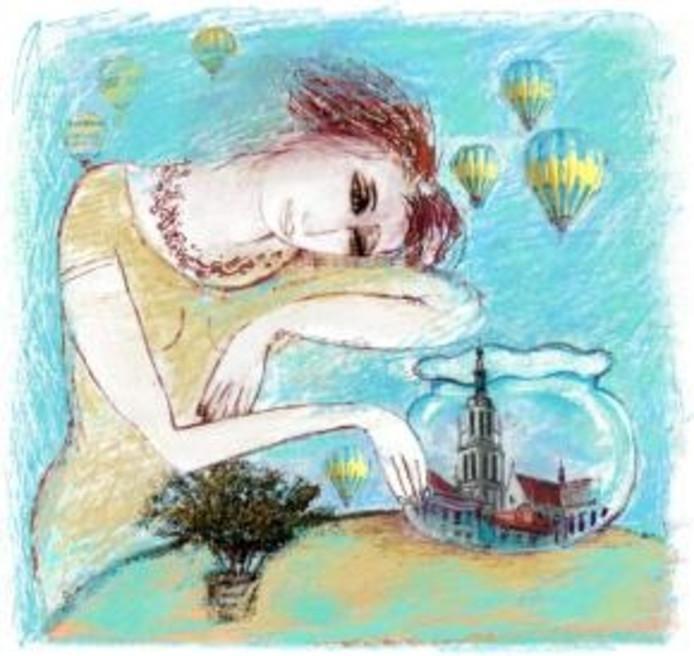 'Soms droom ik van Breda' schilderij van Katrien Caymax