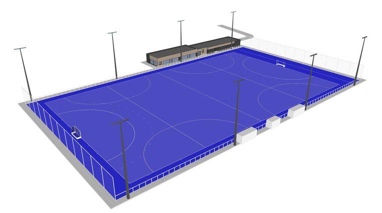 Zo moet het hockeyveld in Oostduinkerke er tegen de zomer van volgend jaar uitzien.