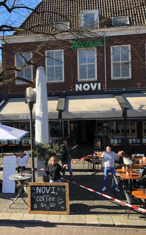Het terras van Novi dinsdagmorgen.