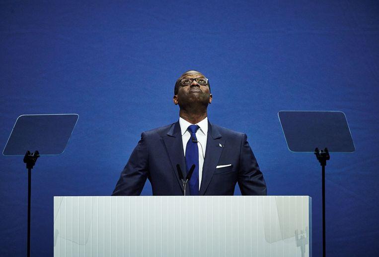 Tidjane Thiam, bestuursvoorzitter van Credit Suisse, in april 2017 tijdens de jaarlijkse aandeelhoudersvergadering van de bank.  Beeld AFP