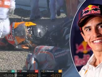 Zesvoudig wereldkampioen MotoGP Marc Marquez maakt na negen maanden blessureleed horrorcrash, maar blijft zo goed als ongedeerd