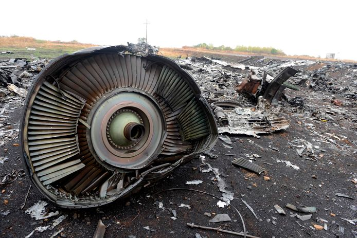 Wrakstukken van het toestel van vlucht MH17.