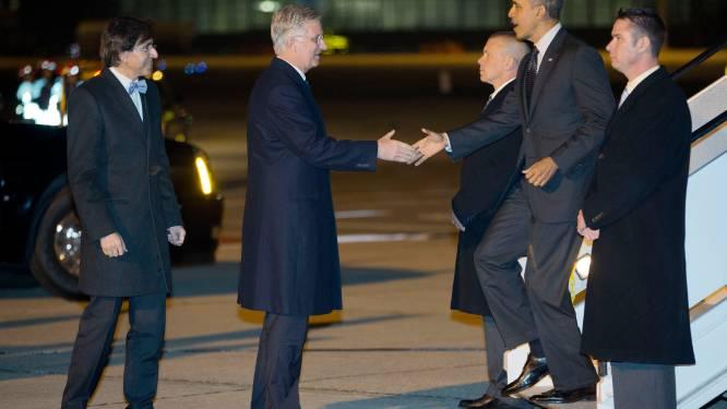 Koning Filip en premier Di Rupo verwelkomen Obama