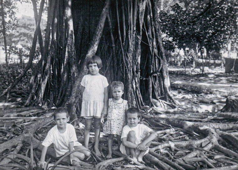 Koos (tweede van links) met haar boertjes en zusje in hun achtertuin in Bojonegoro, Nederlands-Indië, 1927. Beeld Jan Deckwitz