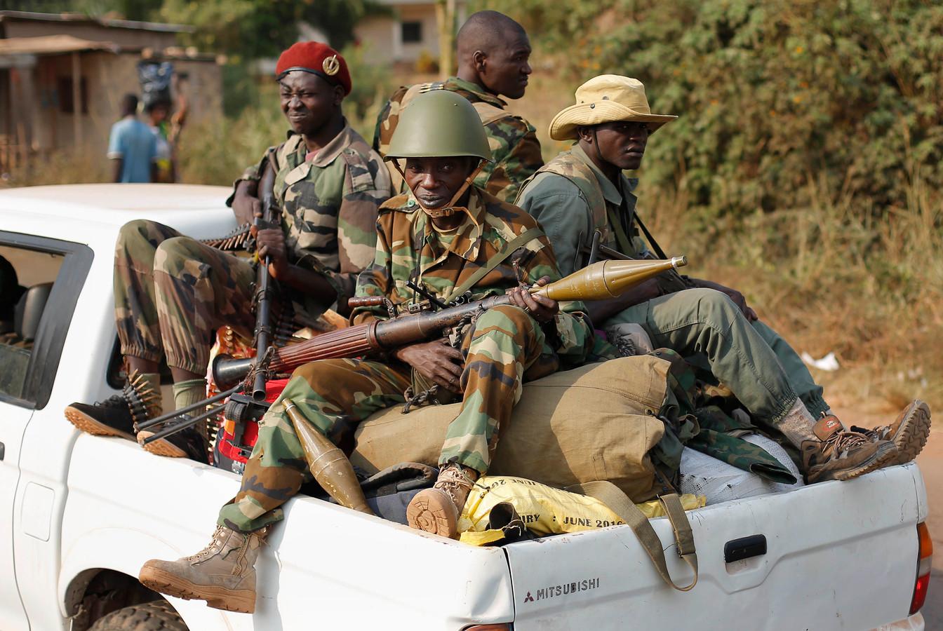 Seleka-moslimmilities in de hoofdstad Bangui van de Centraal-Afrikaanse Republiek, eind januari 2014.