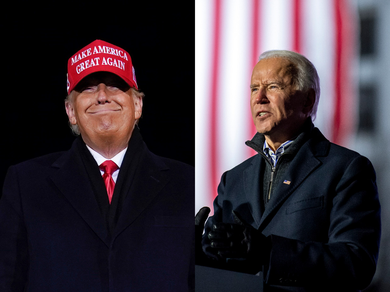 Donald Trump en Joe Biden Beeld AP