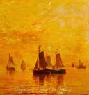 Hoesafbeelding van de single tegen het decor van het schilderij Avondrood van H.W. Mesdag