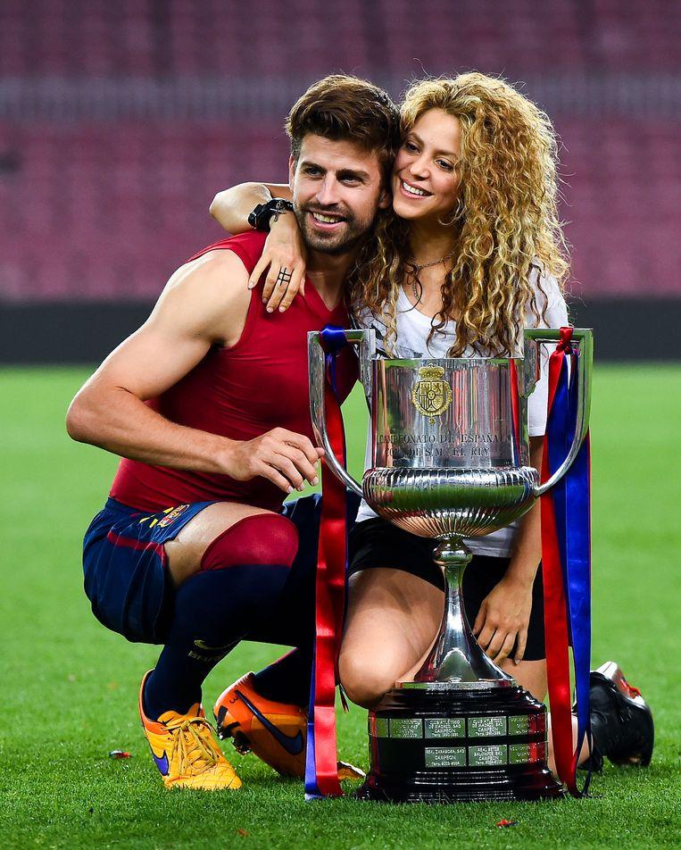 Gerard Piqué en zangeres Shakira. Beeld Getty Images