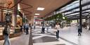 Een impressie van het nieuwe plein van de Corridor, in het midden de roltrappen naar de parkeergarage.