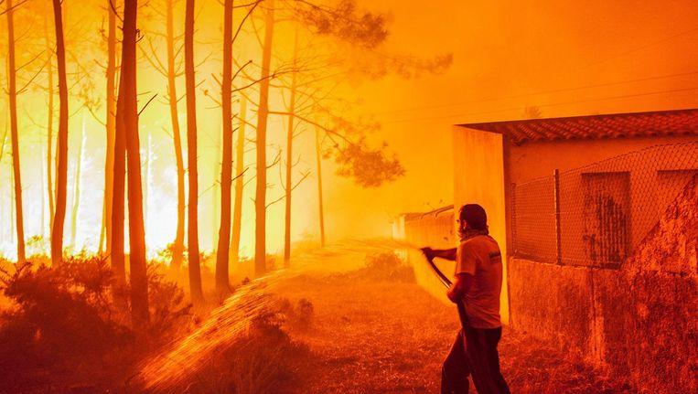 Een man probeert zijn huis te beschermen tegen de bosbranden. Beeld anp