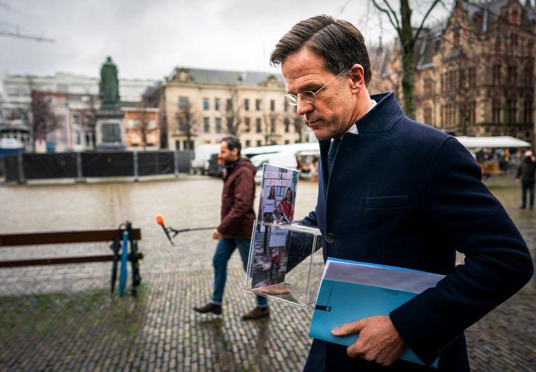 Premier Rutte, voorafgaand aan het verhoor door de parlementaire ondervragingscommissie Kinderopvangtoeslagen.  Beeld
