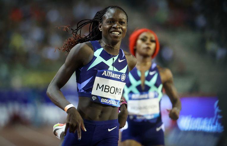 Christine Mboma wint de 200 meter tijdens de Diamond League-meeting in Brussel, vorige vrijdag. Beeld BELGA