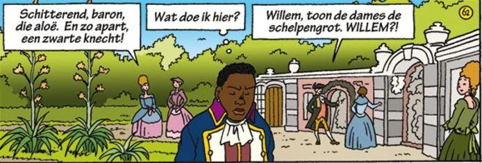 Een scène uit het stripboek Quaco waar de hoofdpersoon is afgebeeld als bediende op kasteel Rosendael.