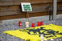 Tientallen theelichtjes staan bij een vlag met de Vlaamse leeuw.