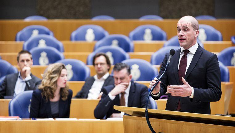 PvdA leider Diederik Samsom tijdens het Tweede Kamerdebat. Beeld anp
