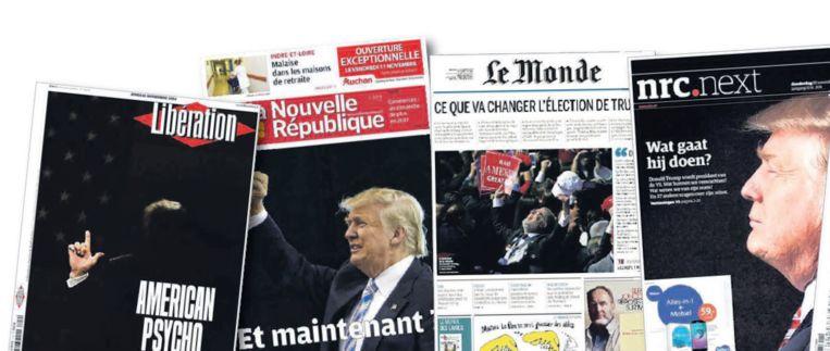 Voorpagina's van donderdag. Links die van Libération. Beeld .