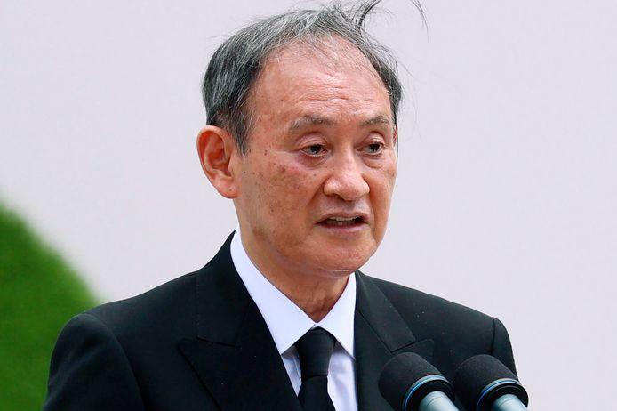 De Japanse premier Yoshihide Suga hield een toespraak tijdens de herdenkingsceremonie.