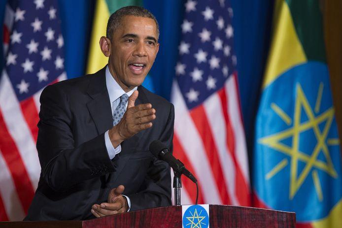 President Obama tijdens de persconferentie in Addis Abeba.