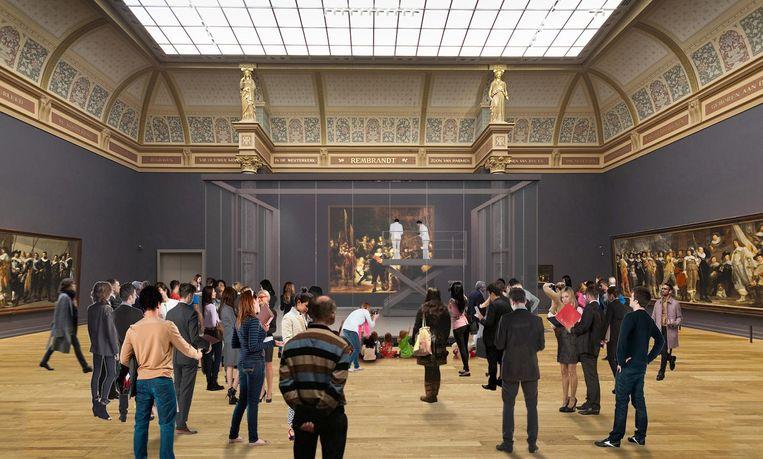 De restauratie van De Nachtwacht zal straks achter glas te zien zijn. Hier een artist's impression van hoe dat eruit gaat zien. Beeld Rijksmuseum