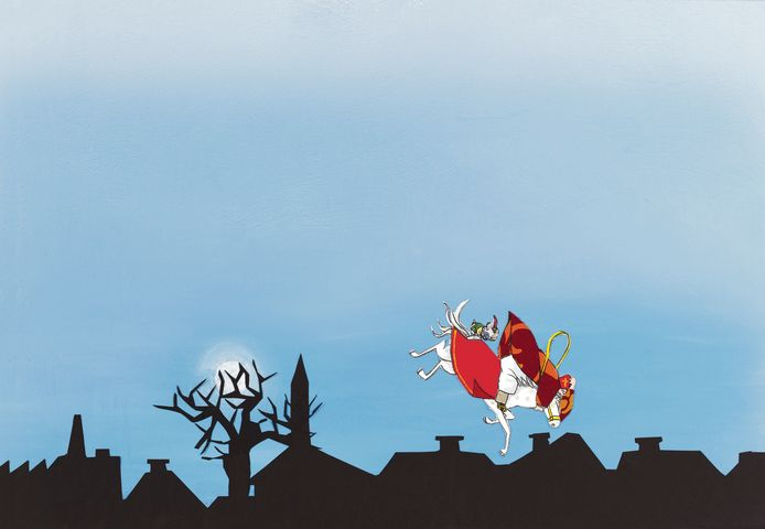 Sinterklaas struikelt.