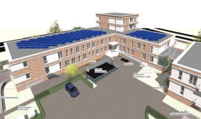 Tekening van het geplande arbeidsmigrantenhotel van WeLiving op de grens van Ermelo en Harderwijk.