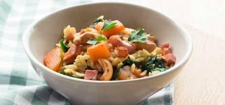 Wat Eten We Vandaag: Orzo met pompoen en spinazie