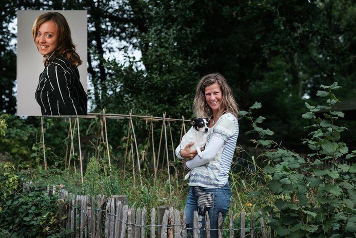 Jacqueline Beemsterboer met haar hondje in haar moestuin in Stokkum. Inzetfoto: zus Nadine.