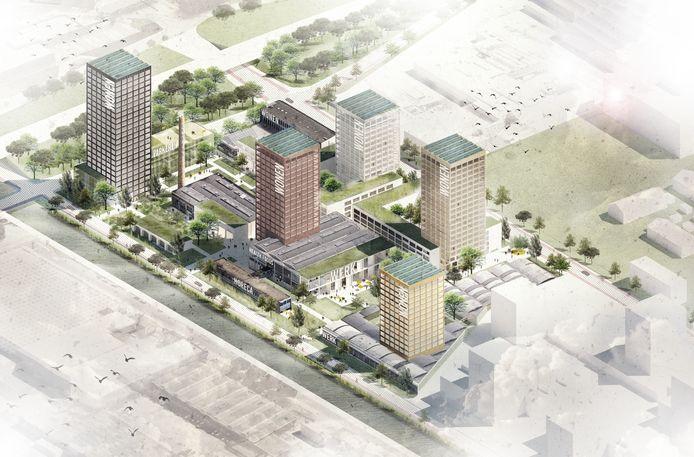Ontwikkelaar BPD hoopt nog dit jaar te kunnen starten met de bouw van de eerste 2 torens op het Campinaterrein. In de gebouwen links, aan het Eindhovensch Kanaal, komen 430 middeldure huurwoningen.