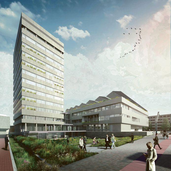 Het vernieuwde Eindhovense stadhuis krijgt zonnepanelen op het dak.