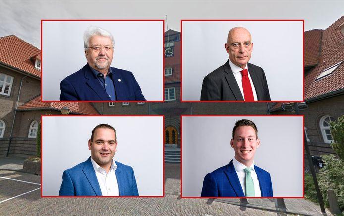 De hoofdrolspelers in Sliedrecht: Gerrit Venis (linksboven), Anton Huijzer van PvdA (rechtsboven), Cees Paas van SGP-ChristenUnie (linksonder) en Frank Dunsbergen van het CDA (rechtsonder).