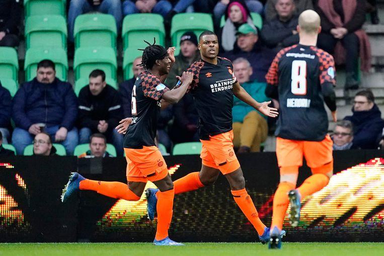Denzel Dumfries van PSV maakte achteraf gezien op 8 maart het laatste doelpunt van dit voetbalseizoen: de 0-1 bij FC Groningen.  Beeld BSR