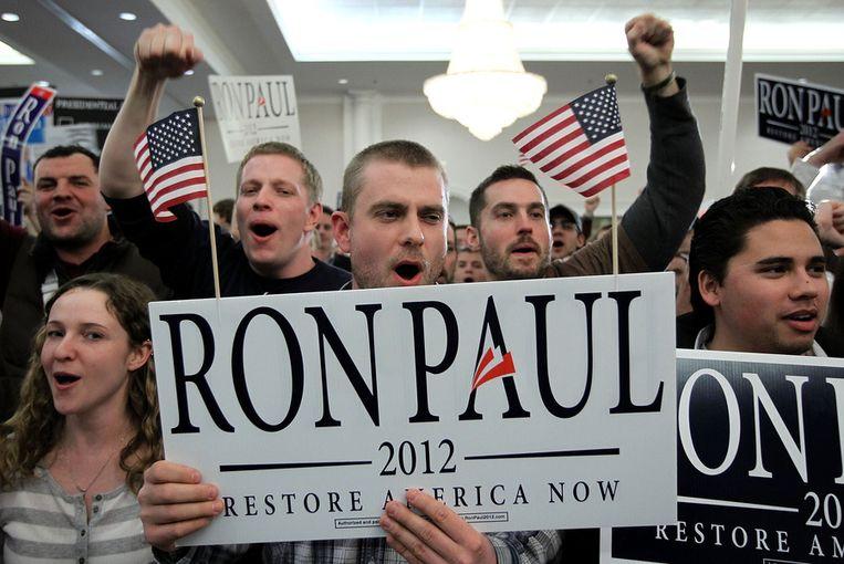 Aanhangers van Ron Paul. Beeld afp