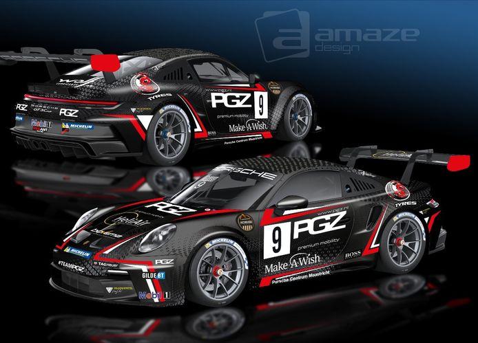 De Porsche waarmee Xavier Maassen dit seizoen in de Porsche Carrera Cup Benelux start.