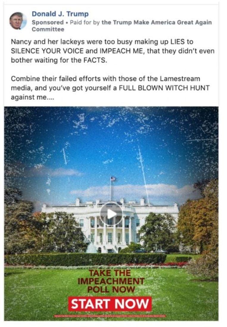 Een recente betaalde boodschap van Donald Trump op Facebook. Beeld Facebook