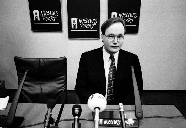 Hans van Baalen in 1998 bij zijn aftreden als campagneleider. Beeld Hollandse Hoogte/Gerhard van Roon