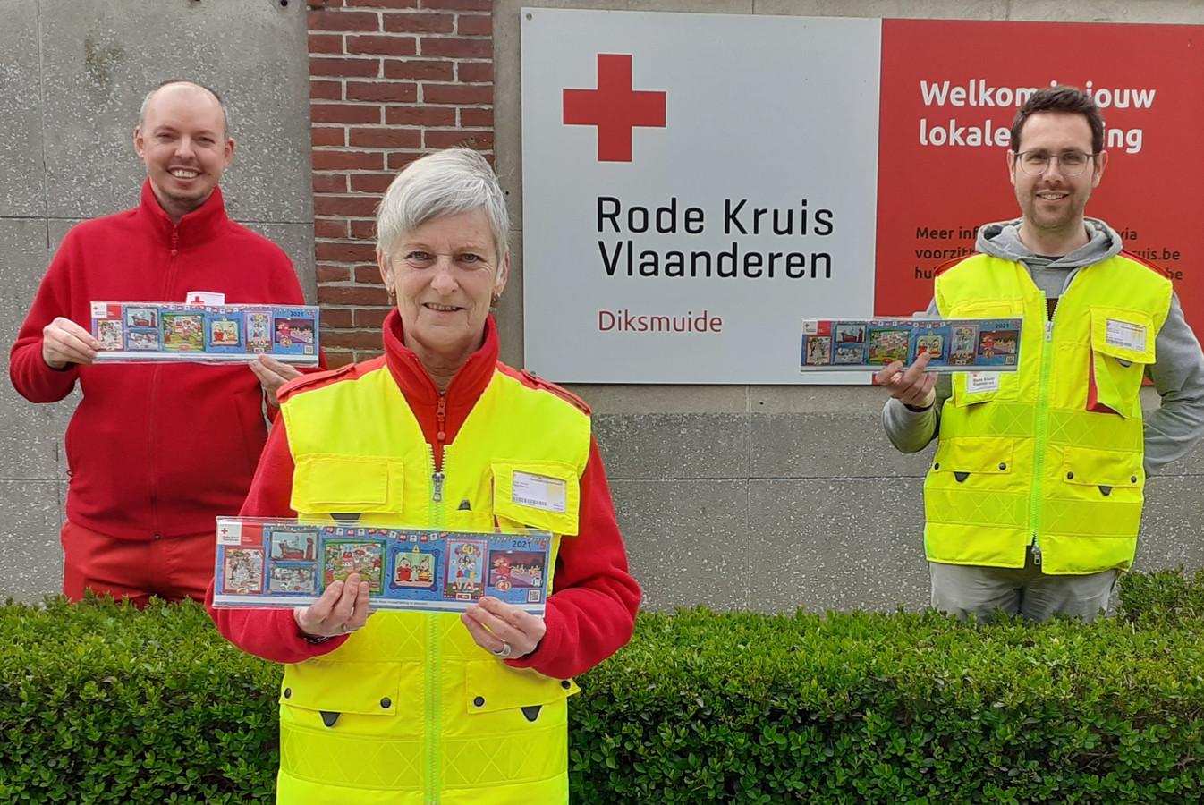 Vrijwilligers Steven Van der Messche, Vera Casier en Stefaan Pollet.