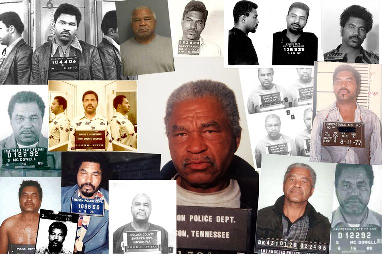 Een compilatie van politiefoto's van Samuel Little, de Amerikaan die 93 moorden heeft bekend op kwetsbare vrouwen die niet snel gemist werden.   Beeld EPA