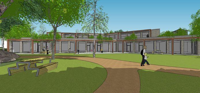 De eerste schets van de nieuwbouw van Kindcentrum De Dromedaris in Beuningen.