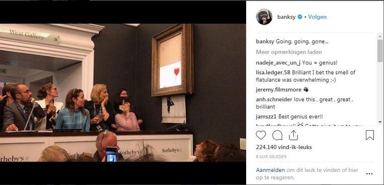 Banksy's beeld van de veiling op zijn Instagram-account. Beeld Instagram