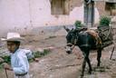 Vanaf zijn beginjaren als fotograaf gebruikte Bob filmdia's. Hier leidt een jongen een ezel geladen met vaten met pulque (een Mexicaanse drank). Locatie: Valle de Bravo, Staat Mexico, augustus 1964.