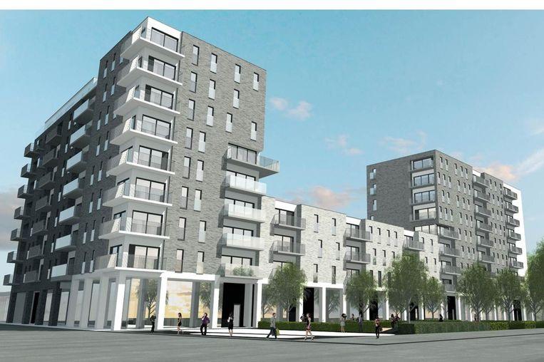Een simulatie van de woontoren naast Trix, Antwerpen.  Beeld rv