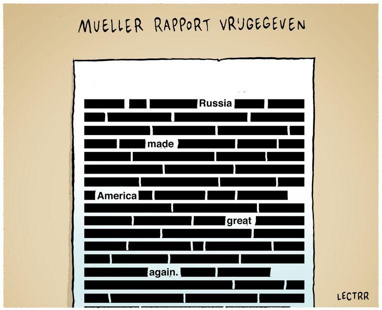 De laatste eervolle vermelding is voor Mueller Rapport, op 18 april 2019 gepubliceerd in De Standaard en The New York Times. Beeld Lectrr