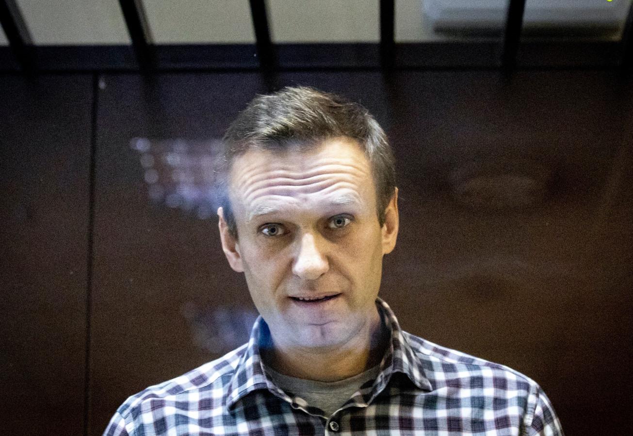 Aleksej Navalny in de rechtbank, in februari dit jaar.