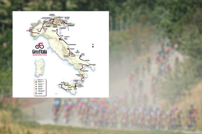 Het parkoers van de Giro 2020.