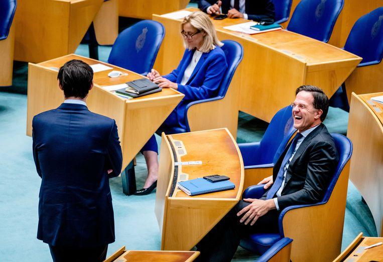 Wopke Hoekstra (CDA), Sigrid Kaag (D66) en Mark Rutte (VVD) tijdens het debat in de Tweede Kamer over het eindverslag van informateur Mariëtte Hamer.  Beeld ANP