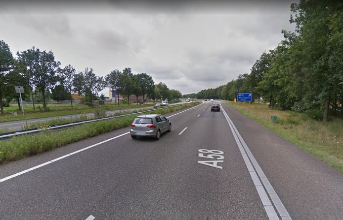 De A58, afrit Roosendaal Oost