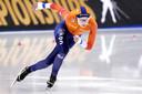 Femke Kok na de rit op de 500 meter op het WK afstanden schaatsen