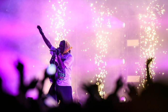 Rapper A$AP Rocky tijdens een optreden in Zwitserland.