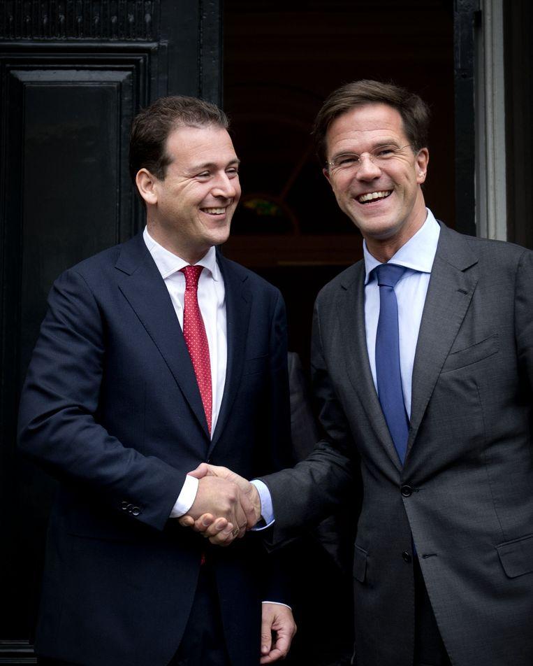 De eerste beoogde minister van het nieuwe kabinet, Lodewijk Asscher, vertrekt na een gesprek met premier Mark Rutte, 2012. Asscher is aanstaand vicepremier en minister van Sociale Zaken.  Beeld ANP
